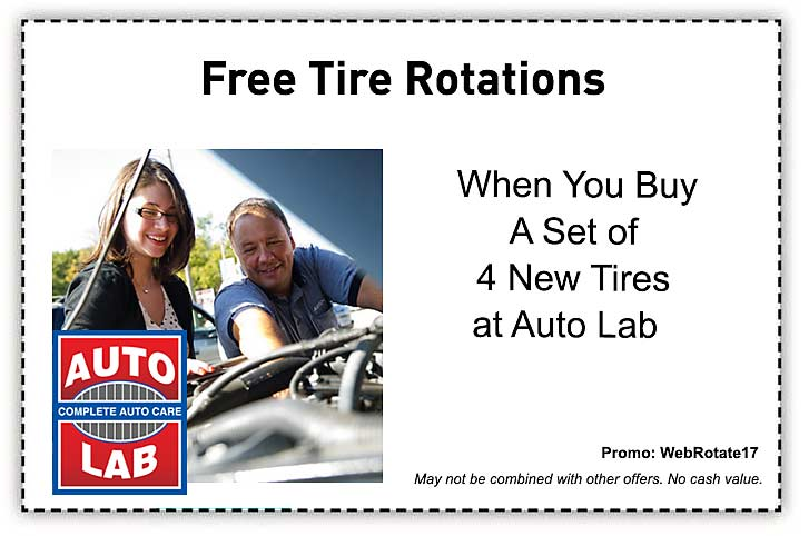 free tire rotations with the purchase of four new tires